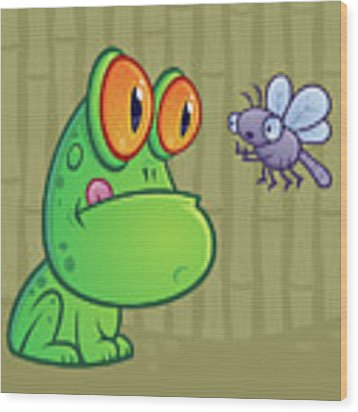 Frog And Dragonfly Wood Print by John Schwegel