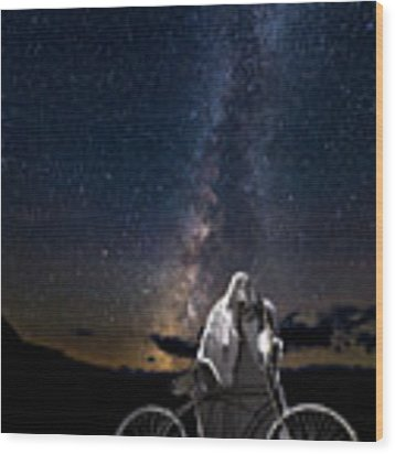 Ghost Rider Under The Milky Way. Wood Print by James Sage