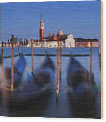 Gondolas And San Giorgio Maggiore At Night - Venice Wood Print by Barry O Carroll