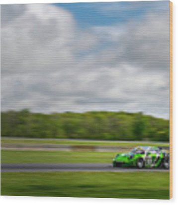 Green Porsche Racing At The Track Wood Print by Gavin Baker