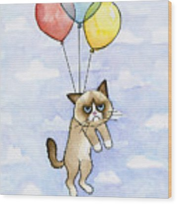 Grumpy Cat And Balloons Wood Print