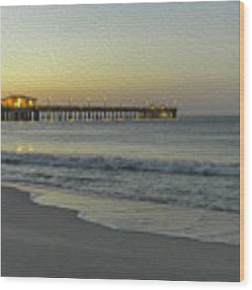Gulf Shores Alabama Fishing Pier Digital Painting A82518 Wood Print by Mas Art Studio