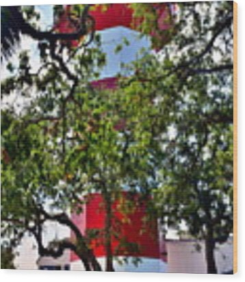 Harbour Town Lighthouse Wood Print by Lisa Wooten