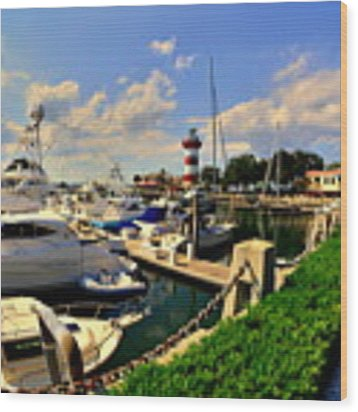 Harbour Town Marina Sea Pines Resort Hilton Head Sc Wood Print by Lisa Wooten