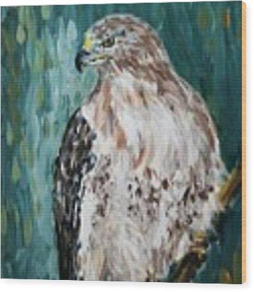 Hawk Wood Print by Maria Langgle