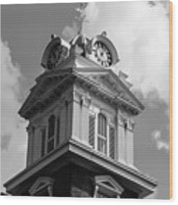 Historic Courthouse Steeple In Bw Wood Print by Doug Camara
