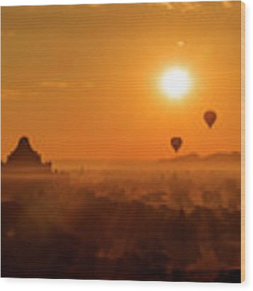Holy Temple And Hot Air Balloons At Sunrise Wood Print by Pradeep Raja PRINTS