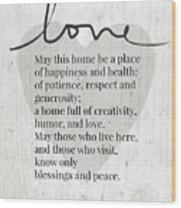 Home Blessing Rustic- Art By Linda Woods Wood Print