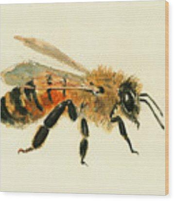 Honey Bee Painting Wood Print by Juan  Bosco