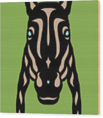 Horse Face Rick - Horse Pop Art - Greenery, Hazelnut, Island Paradise Blue Wood Print by Manuel Sueess