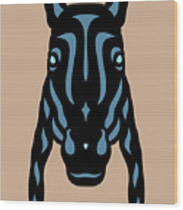 Horse Face Rick - Horse Pop Art - Hazelnut, Niagara Blue, Island Paradise Blue Wood Print by Manuel Sueess
