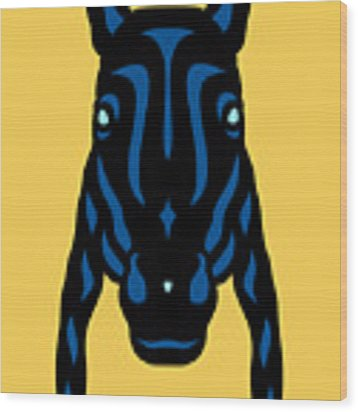 Horse Face Rick - Horse Pop Art - Primrose Yellow, Lapis Blue, Island Paradise Blue Wood Print by Manuel Sueess