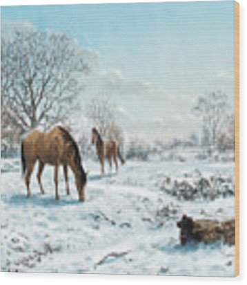 Horses In Countryside Snow Wood Print by Martin Davey