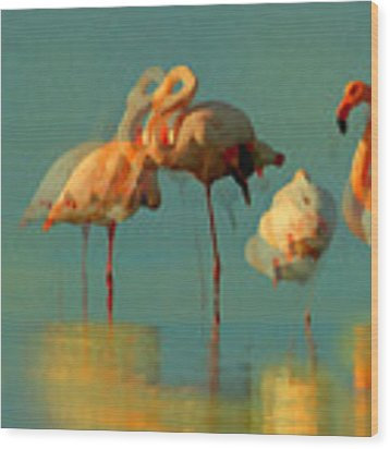 Impressionist Flamingo Abstract Wood Print by Shelli Fitzpatrick