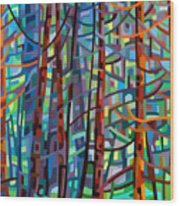 In A Pine Forest Wood Print by Mandy Budan