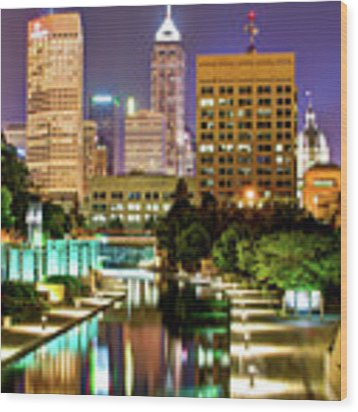 Indianapolis City Skyline And Canal Walk Wood Print by Gregory Ballos