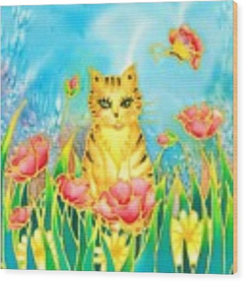 Kitty And Poppies Wood Print by Hisayo Ohta