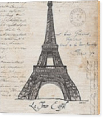 La Tour Eiffel Wood Print by Debbie DeWitt