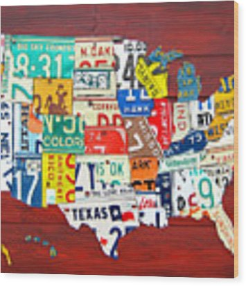 License Plate Map Of The United States - Midsize Wood Print