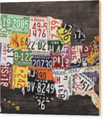 License Plate Map Of The United States - Warm Colors / Black Edition Wood Print