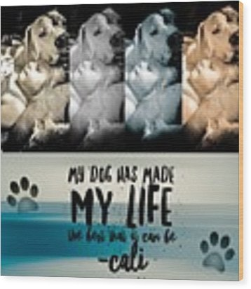 Life With My Dog Wood Print by Kathy Tarochione