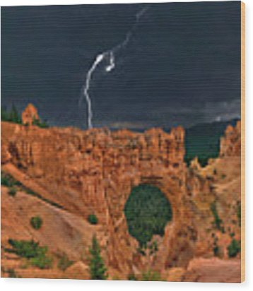 Lightning Over Natural Bridge Formation Bryce Canyon National Park Utah Wood Print by Dave Welling