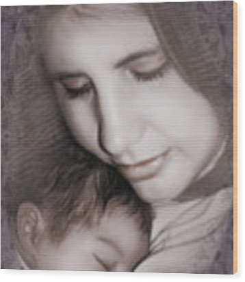 Madonna And Child 3 Wood Print by Kate Word