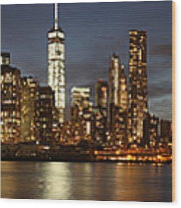Manhattan Skyline At Night - Panorama Wood Print by Nathan Rupert