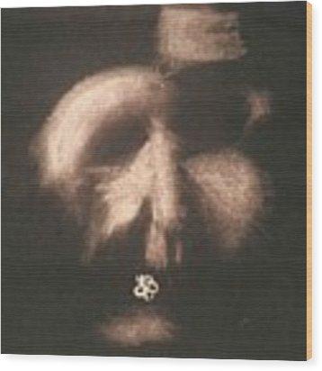 Mask Wood Print by AJ Brown