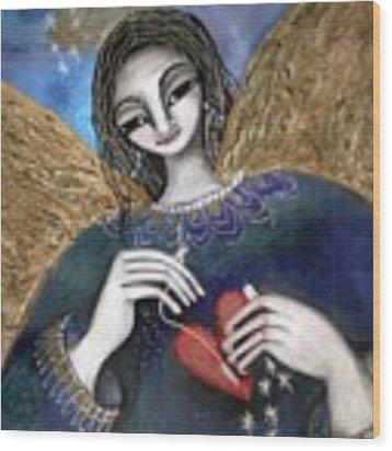 Mender Of Hearts Angel Wood Print by Prerna Poojara