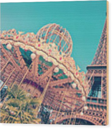 Merry Go Paris Wood Print by Delphimages Photo Creations