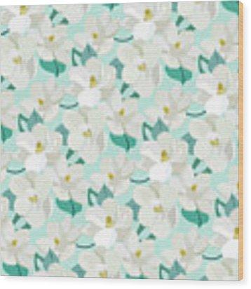 Mint Magnolias Wood Print by Elizabeth Tuck