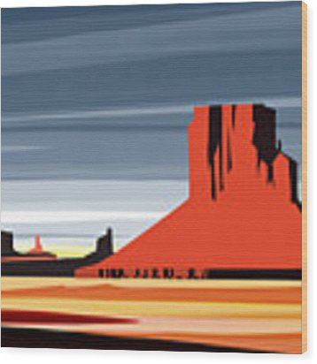 Monument Valley Sunset Digital Realism Wood Print by Sassan Filsoof