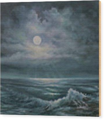 Moonlit Seascape Wood Print by Katalin Luczay