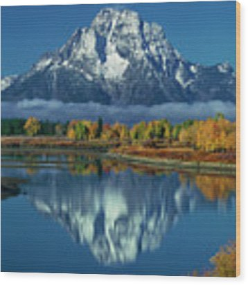 Morning Cloud Layer Oxbow Bend In Fall Grand Tetons National Park Wood Print by Dave Welling