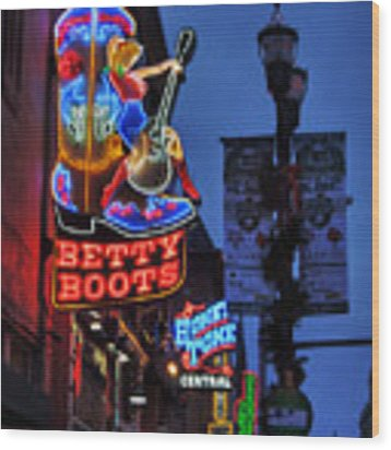 Nashville - Broadway 002 Wood Print by Lance Vaughn