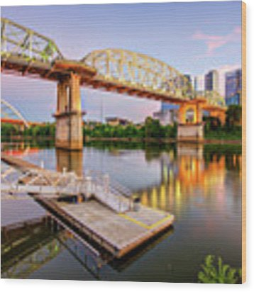Nashville Pedestrian And Gateway Bridge At Dusk Wood Print by Gregory Ballos