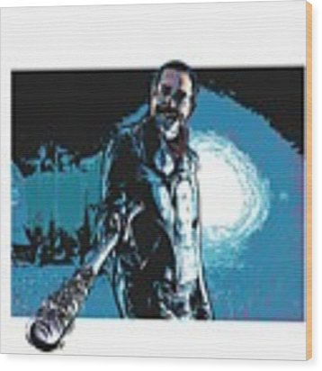 Negan Wood Print by Antonio Romero