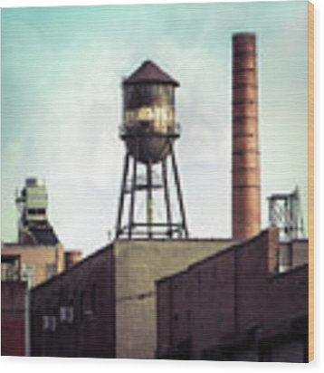 New York Water Towers 19 - Urban Industrial Art Photography Wood Print by Gary Heller