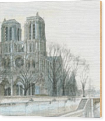 Notre Dame Cathedral In March Wood Print by Dominic White