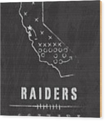 Oakland Raiders Art - Nfl Football Wall Print Wood Print by Damon Gray