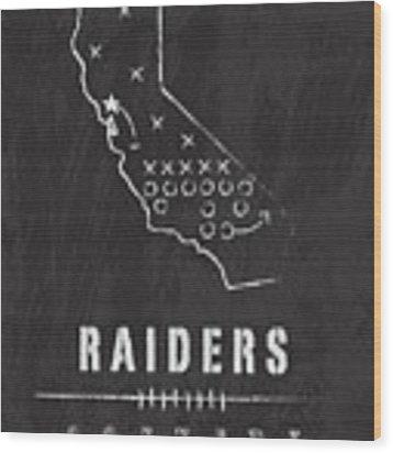 Oakland Raiders Art - Nfl Football Wall Print Wood Print by Damon Gray