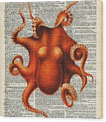 Octopus Vintage Illustration On A Book Page Wood Print by Anna W