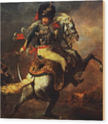 Officer Of The Hussars Wood Print by Theodore Gericault