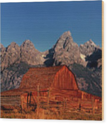 Old Barn Grand Tetons National Park Wyoming Wood Print by Dave Welling