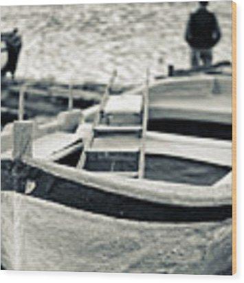 Old Man And Boat Wood Print by Silvia Ganora