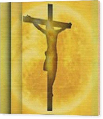 Orange Environment Crucifixion Wood Print by Alberto RuiZ