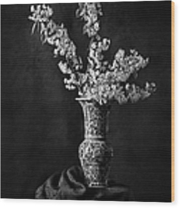 Ornamental Pear Blossoms B And W Wood Print by Endre Balogh