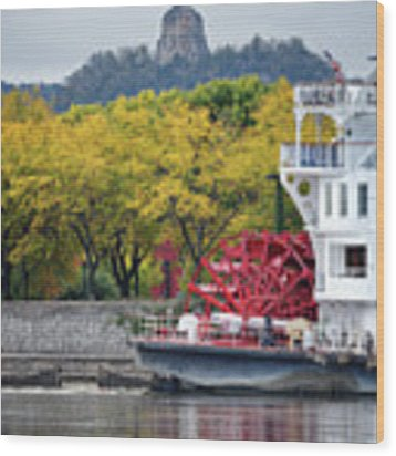 Paddlewheeler At Winona Mn Mississippi River Wood Print by Kari Yearous