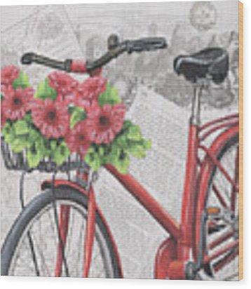 Paris Ride 2 Wood Print by Debbie DeWitt